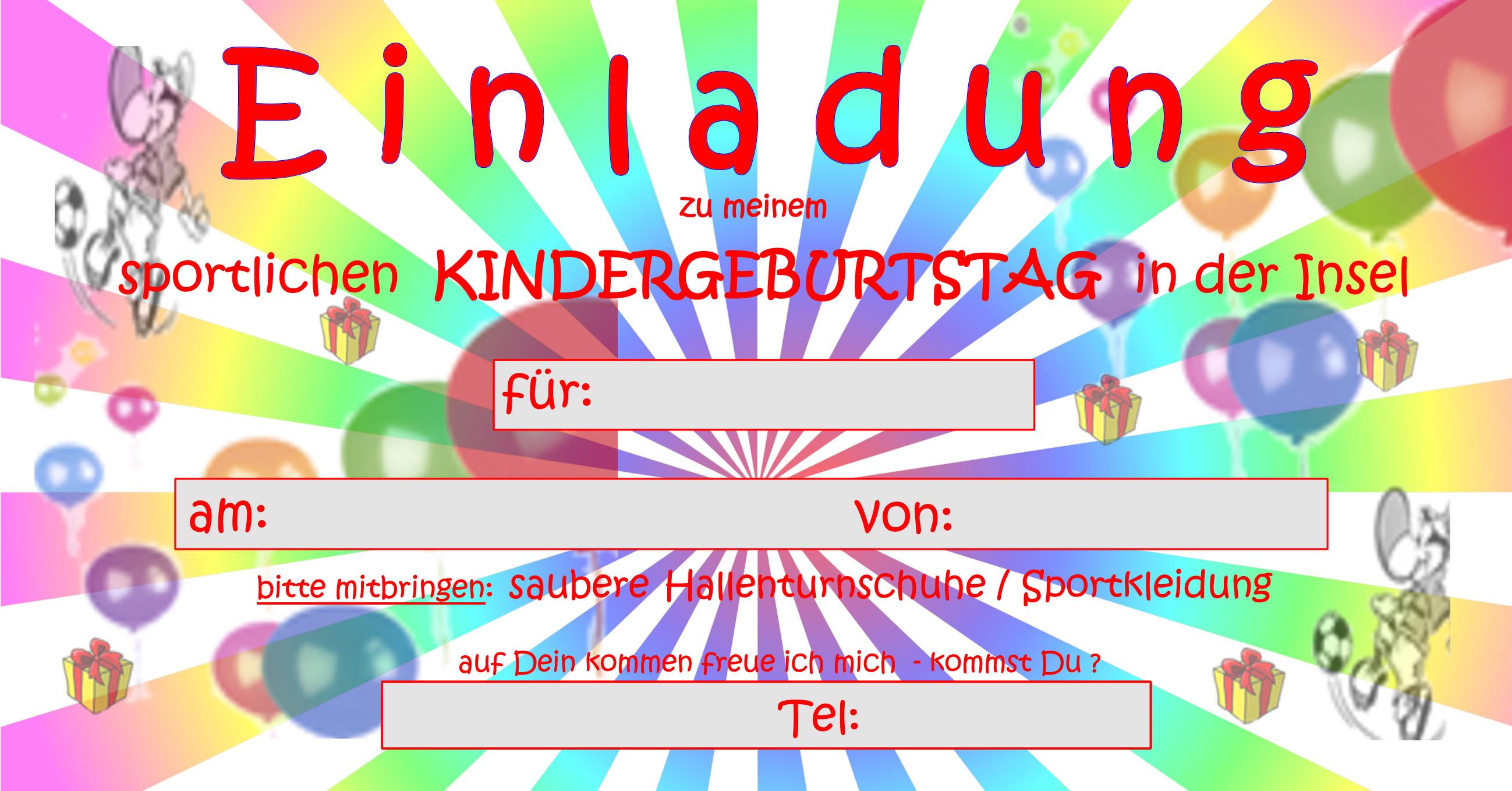 sportliche kindergeburtstage in münchens umgebung - squash-insel, Einladungsentwurf